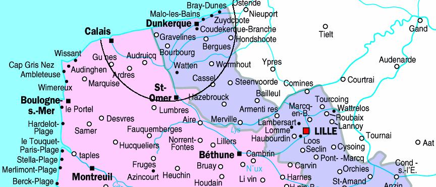 Rayon d'intervention dans la région